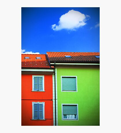 Colored walls and a cloud Photographic Print