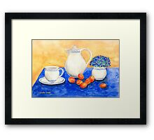 Still Life with Coffee Set and Nectarines Framed Print