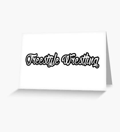 Freestyle Wrestling Black  Greeting Card