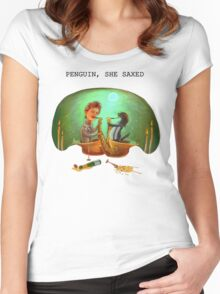 PENGUIN, SHE SAXED Women's Fitted Scoop T-Shirt