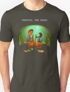 PENGUIN, SHE SAXED - dark T-Shirt