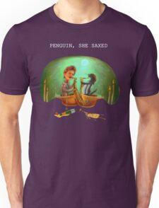 PENGUIN, SHE SAXED - dark Unisex T-Shirt
