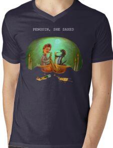 PENGUIN, SHE SAXED - dark Mens V-Neck T-Shirt