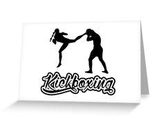 Kickboxing Female Jumping Back Kick Black  Greeting Card