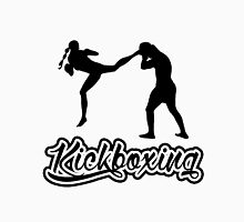 Kickboxing Female Jumping Back Kick Black  Unisex T-Shirt