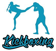 Kickboxing Female Jumping Back Kick Blue  by yin888