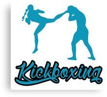 Kickboxing Female Jumping Back Kick Blue  Canvas Print