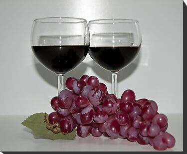 Red Wine & Red Grapes by Sherry Hallemeier