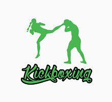 Kickboxing Female Jumping Back Kick Green  Unisex T-Shirt