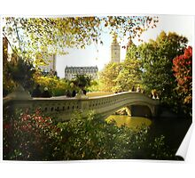 Bow Bridge Central Park in Autumn Poster