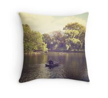 Central Park Row Boats Throw Pillow