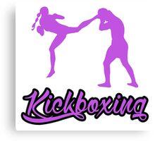 Kickboxing Female Jumping Back Kick Purple  Canvas Print