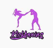 Kickboxing Female Jumping Back Kick Purple  T-Shirt