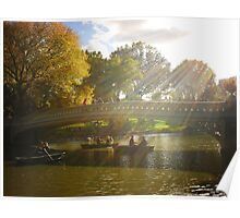 Sunlight and Boats - Bow Bridge Central Park Poster