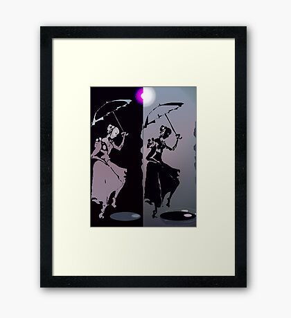 girls with umbrellas Framed Print