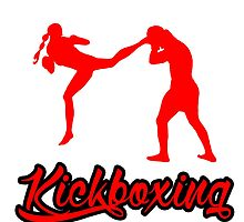 Kickboxing Female Jumping Back Kick Red  by yin888