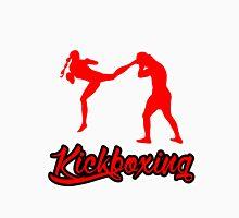 Kickboxing Female Jumping Back Kick Red  Unisex T-Shirt