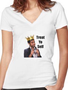 Treat Yo Self- Parks and Rec Women's Fitted V-Neck T-Shirt