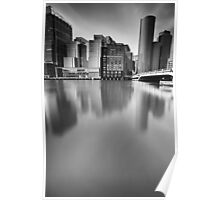 Boston Skyline BW Poster