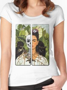 Frida Kahlo - Self Portrait (1940) Skeleton Version Women's Fitted Scoop T-Shirt