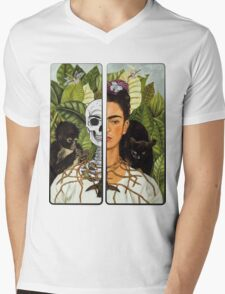 Frida Kahlo - Self Portrait (1940) Skeleton Version Mens V-Neck T-Shirt