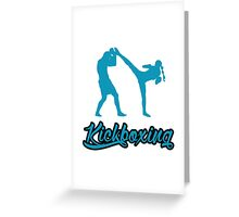 Kickboxing Female Spinning Back Kick Blue  Greeting Card