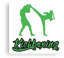 Kickboxing Female Spinning Back Kick Green  Canvas Print