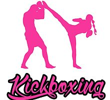 Kickboxing Female Spinning Back Kick Pink  by yin888