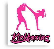 Kickboxing Female Spinning Back Kick Pink  Canvas Print