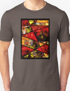 Stain Glass Image Collage (red,yellow) T-Shirt