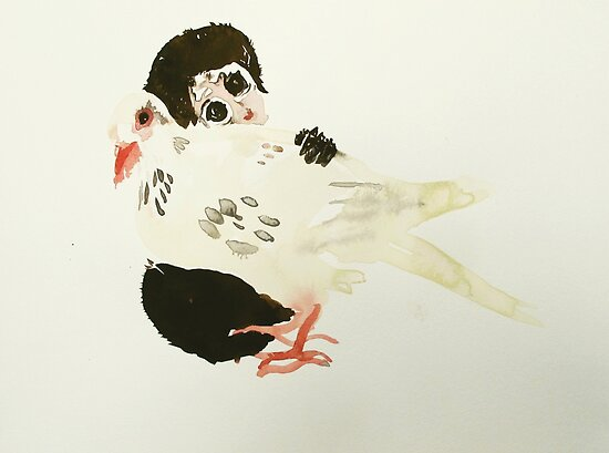monkey baby with dove by donnamalone