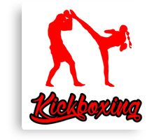 Kickboxing Female Spinning Back Kick Red  Canvas Print