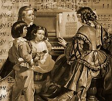 Thou Art So Dear Music - Mom And Children At Piano by Sandra Foster