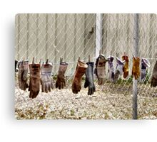 Gloves Hung Out To Dry Canvas Print