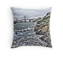 Rough water by Golden Gate Bridge, SF,CA Throw Pillow
