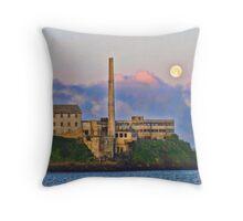 Moon by Alcatraz Island, SF, CA Throw Pillow
