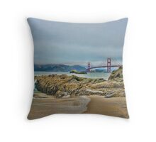 Beach by Golden Gate Bridge, SF,CA Throw Pillow
