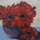 Red gerberas by Tash  Luedi Art