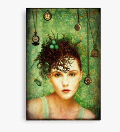 Girl With Bird's Nest Canvas Print