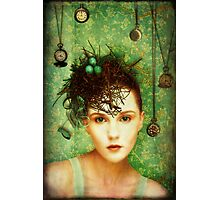 Girl With Bird's Nest Photographic Print