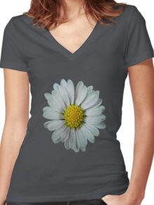 Lonely Daisy (mosaic) Women's Fitted V-Neck T-Shirt