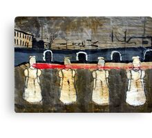 Four Faceless Girls Share One Pair of Lips, 2001, Acrylic on Paper, Justin Curfman Canvas Print