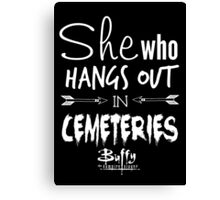 She Who Hangs Out in Cemeteries (White) Canvas Print
