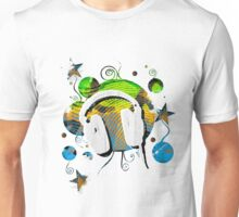 Funky Headphones In Blue And Yellow Unisex T-Shirt