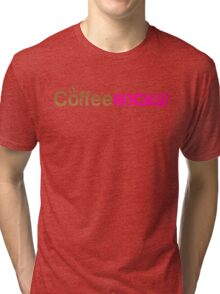 Coffee Rocks Typography Brown And Magenta Tri-blend T-Shirt