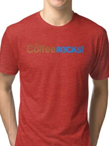Coffee Rocks Typography Brown And Cyan Tri-blend T-Shirt