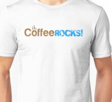 Coffee Rocks Typography Brown And Cyan Unisex T-Shirt