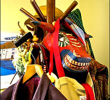 Paraphernalia on a hat stand. by J-images