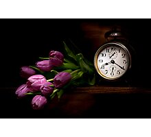 Frozen time by purple tulips still life Photographic Print