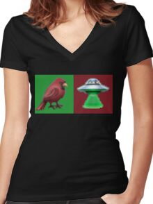 Cardinal Spaceship #1 Forever Women's Fitted V-Neck T-Shirt